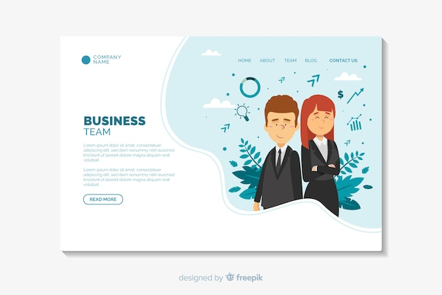 Business landing page flat design template