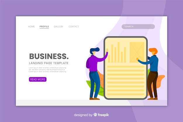 Business landing page flat design