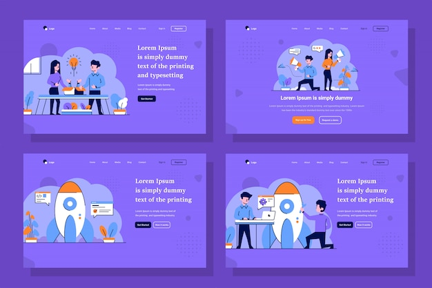 Business landing page in flat and outline design style