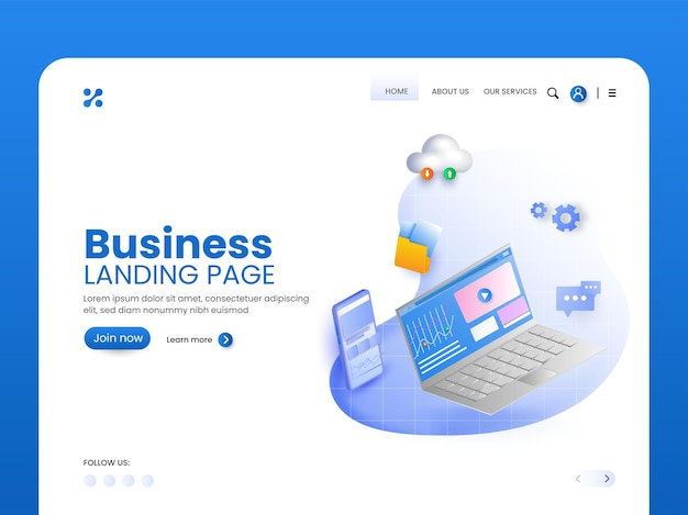 Business landing page or hero banner design for advertising.