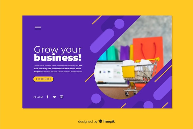 Business landing page including photo