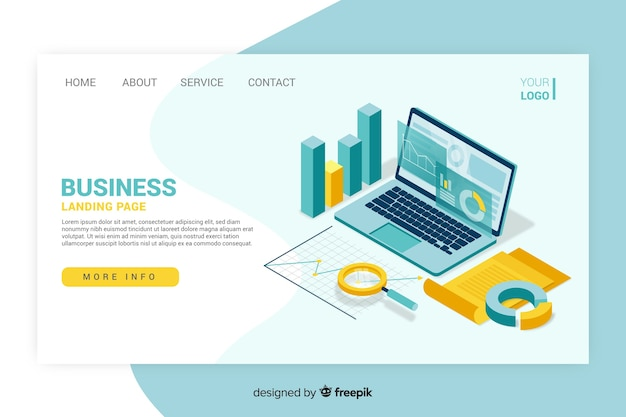 Business landing page isometric design