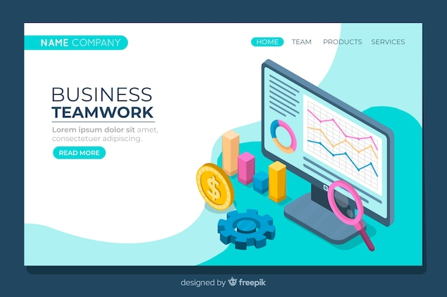 Business landing page in isometric style