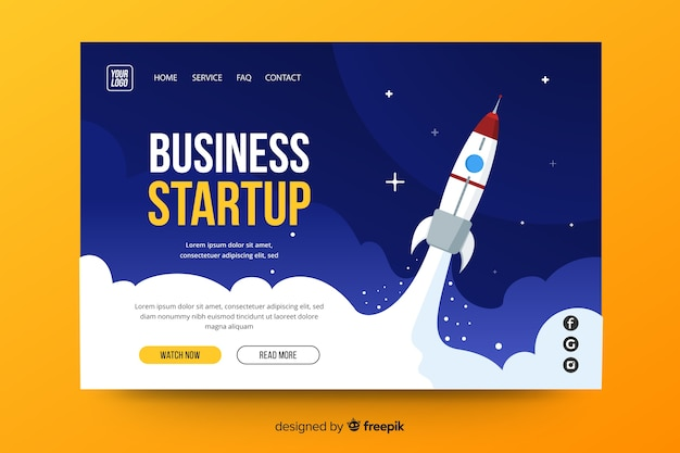 Business landing page for startup