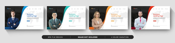 business landing page template design with color variation