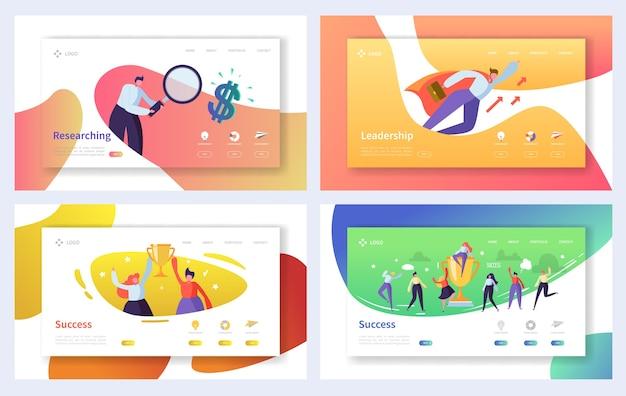 ビジネスのランディングページテンプレートセット。ウェブサイトまたはウェブページのビジネスピープルキャラクター研究、リーダーシップ、成功の概念。