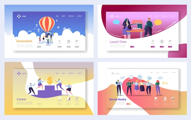 ビジネスのランディングページテンプレートセット。ビジネスマンのキャラクターソーシャルメディア、イノベーション、ウェブサイトまたはウェブページのキャリア成長の概念。