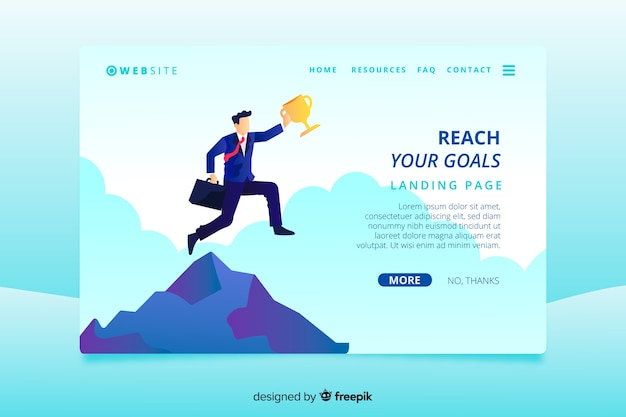 Business landing page template with business man