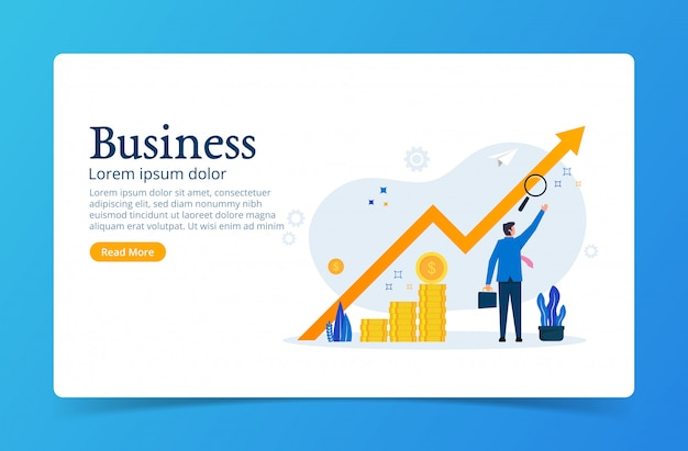 Business landing page template with businessman character and increase arrow symbol.