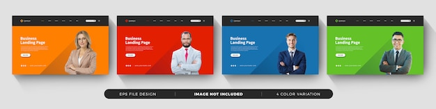 Business landing page template with color variation set