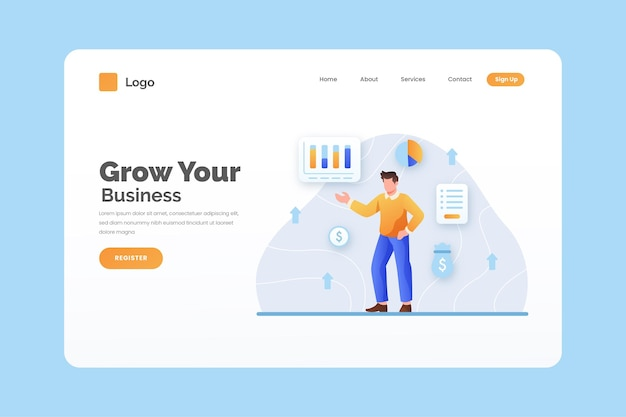 Business landing page template with illustrations