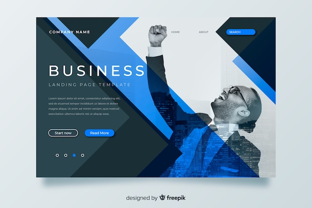 Business landing page template with image
