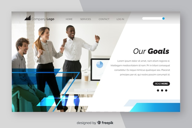 Business landing page template with photo