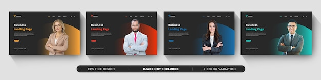Business landing page template Premium Vector