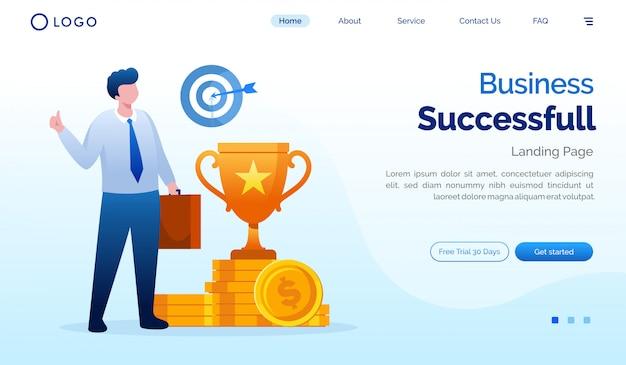 Business landing page website illustration vector template