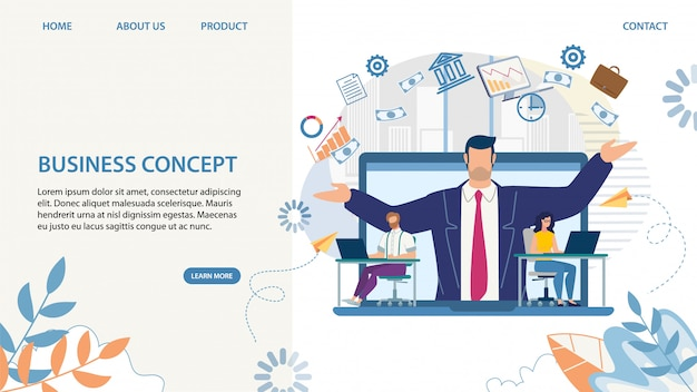 Business landing page with cartoon skilled leader