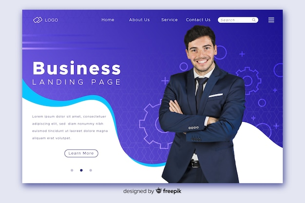 Business landing page with ceo photo