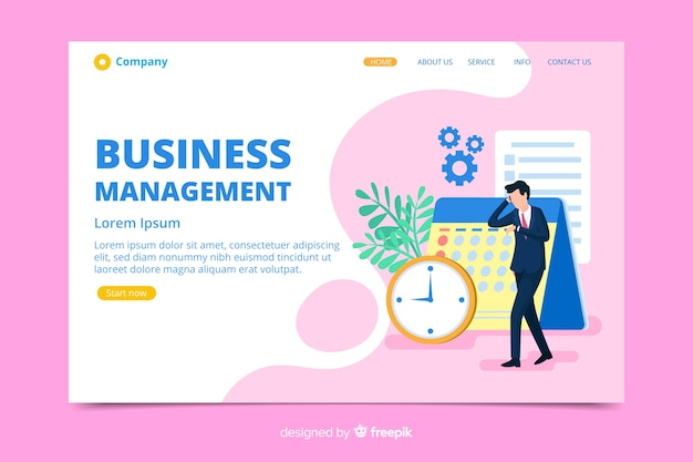 Business landing page with character