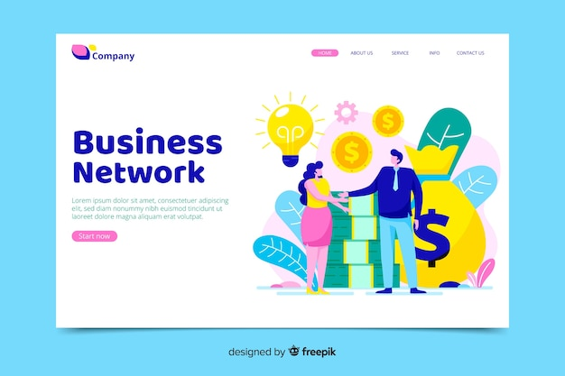 Business landing page with cooperatve characters