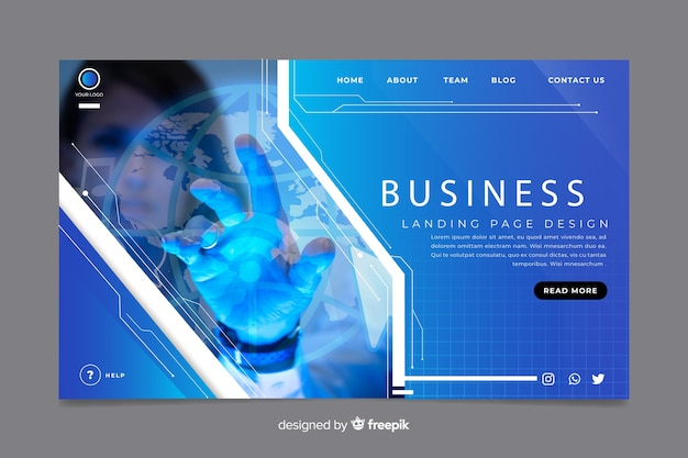 Business landing page with dark photo