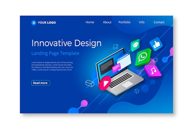 Business landing page with electronic device