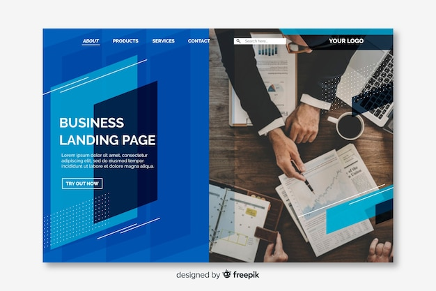 Business landing page with geometric shapes and photo