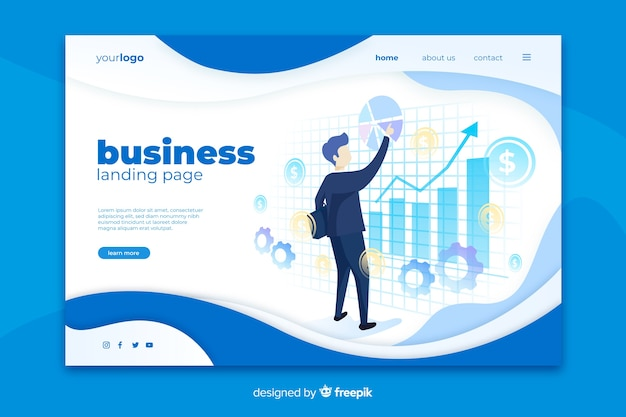 Business landing page with graph