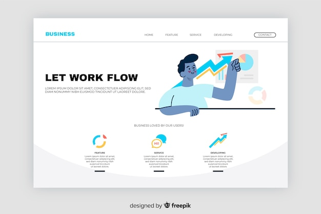 Business landing page with graphics