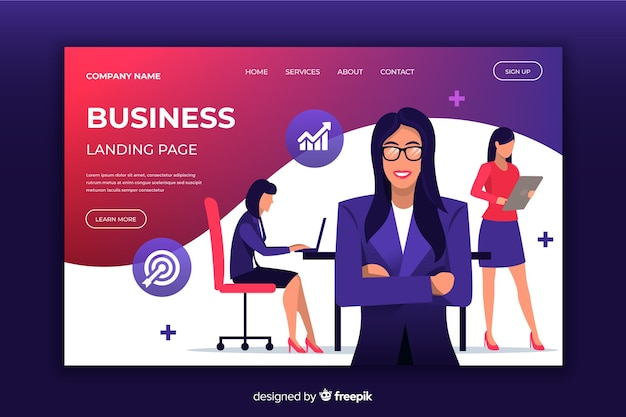 Business landing page with illustrated women