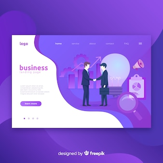 Business landing page with illustration