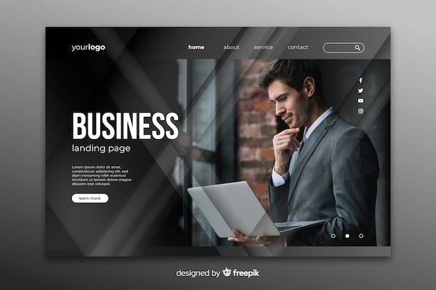 Business landing page with image