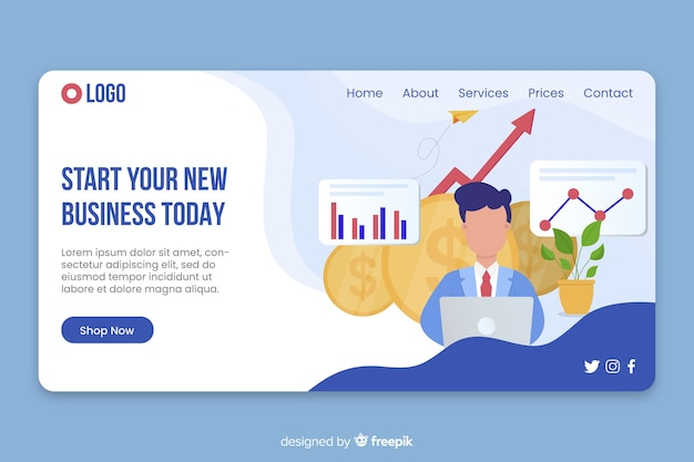 Business landing page with information