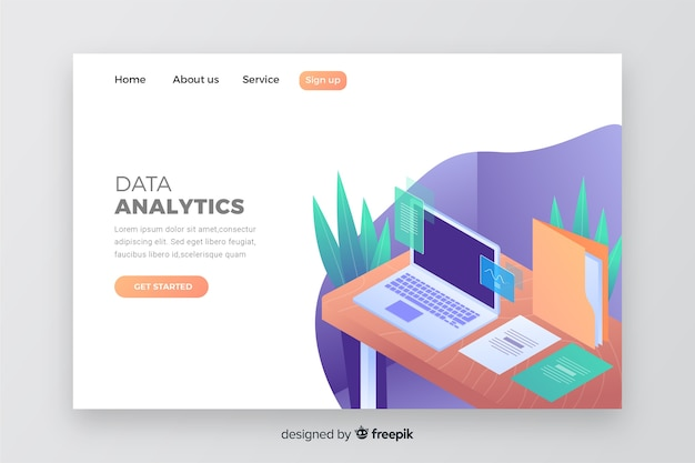 Business landing page with laptop template