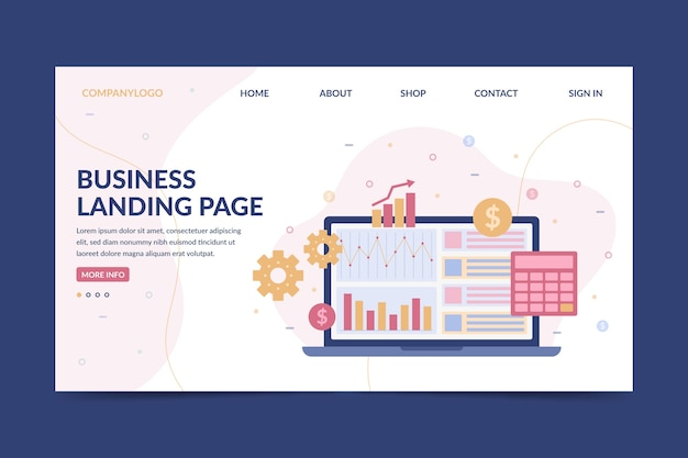 Business landing page with laptop