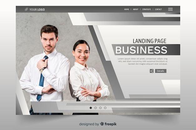 Business landing page with lines and photo