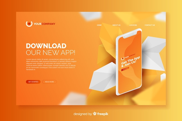 Business landing page with phone