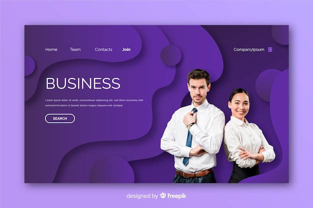 Business landing page with photo template