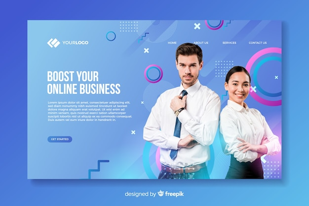Business landing page with photo with man and woman