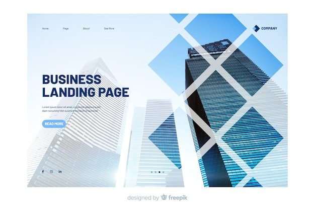 Business landing page with photo