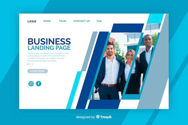 Business landing page with picture
