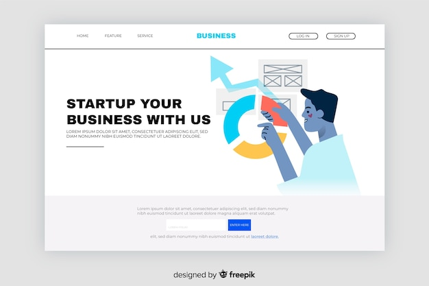 Business landing page with pie chart