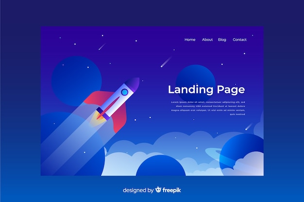 Business landing page with rocket