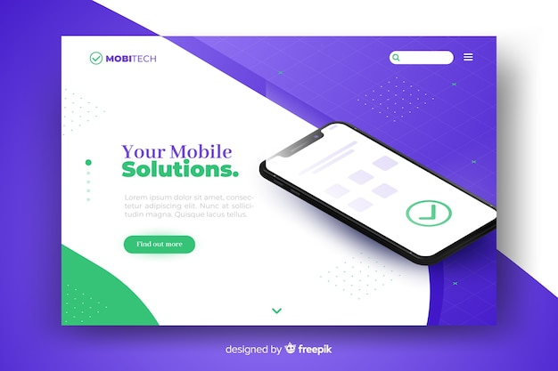 Business landing page with smartphone concept for site