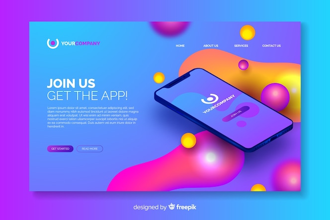 Business landing page with smartphone
