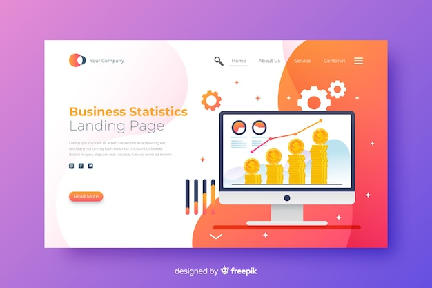 Business landing page with statistics