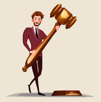 Business lawyer holding wooden judge gavel.