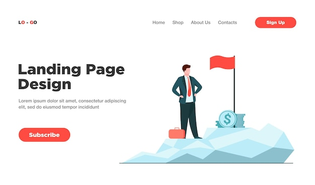 Business leader achieving goal landing page
