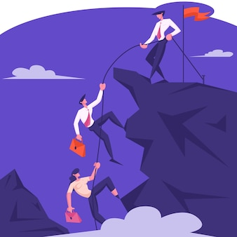 Business leader character help team climb to top of rock