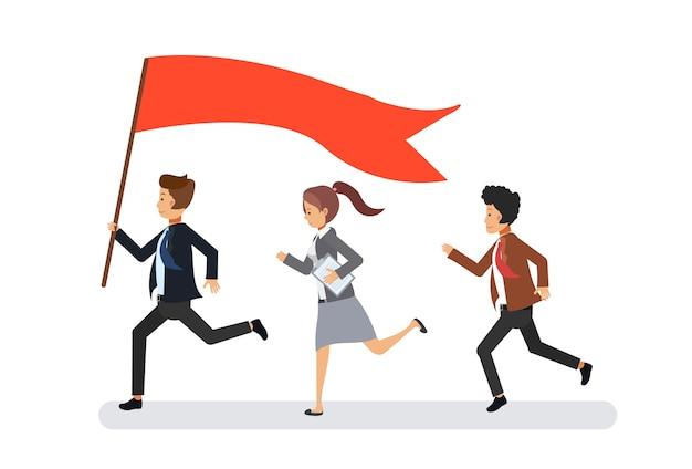 Бизнес-лидер, ведущий к своим коллегам. бизнес-концепция совместной работы к успеху. плоский мультипликационный персонаж.