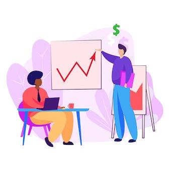 Бизнес лидер представляет диаграмму роста коллеге